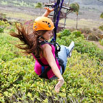 beautiful woman on the maui zipline