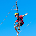 young boy on the zipline