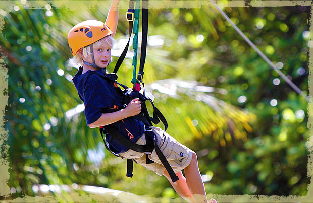 Kids enjoying Maui Zipline